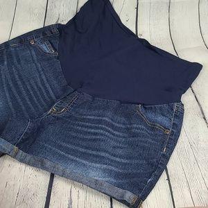 Like new dark wash full panel maternity shorts
